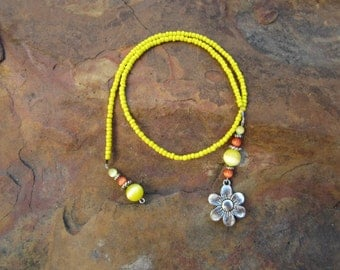 Yellow Bookmark with Orange Accents and Flower Charm #1027
