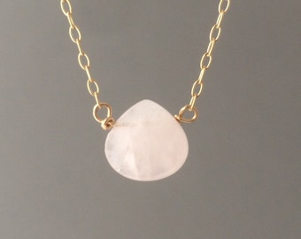 Pink Rose Quartz Necklace available in gold, rose gold, or silver
