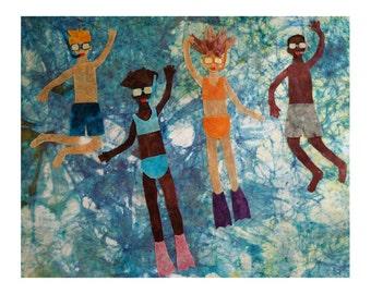 Batik Fabric Collage Art Swimming Archival Art Print (Barton Springs)
