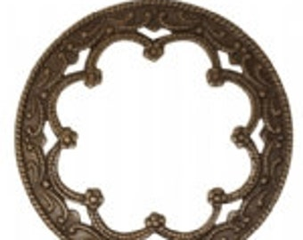 Vintaj 35mm Framed Scrollwork - Natural Brass