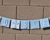 Baptism Banner plus name, Baptism Decoration, 2 Rows,Baby Blue & White, Religious, Confirmation, God Bless Includes name up to 6 letters