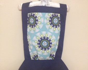 """Retro blue and green design doll or stuffed animal carrier 12"""" - 15"""" - 18"""""""