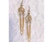Gold Rhinestone and Chain Dangle Earrings