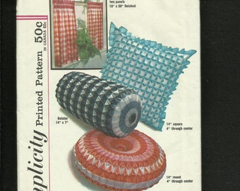 Vintage 1960's Simplicity 4679 Mid Century  Smocked  Gingham Pillows or  Bolster UNCUT