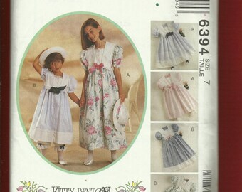 McCalls 6394  Kitty Benton Turn of the Century Large Collar Dresses for Girls Size 7 UNCUT