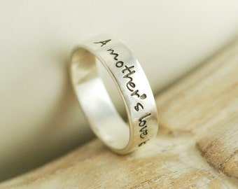 Personalized hand stamped sterling silver ring - a mothers love is never ending
