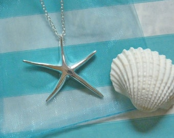 silver starfish necklace , bridesmaid necklaces , starfish necklaces , beach wedding  , bridesmaid gift