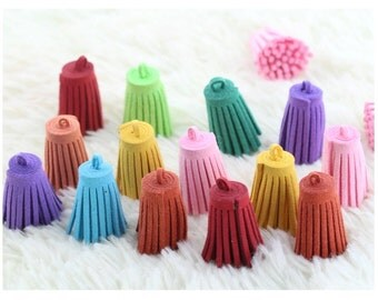100pcs 30mm assorted colors suede leather tassel charms