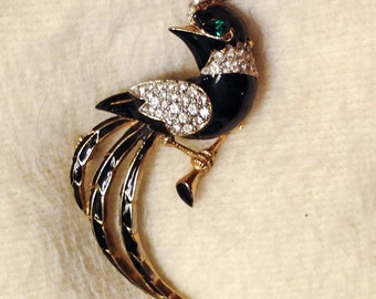 Vintage 1960s Large Bird Brooch / Black with Rhinestones and Fancy Tail