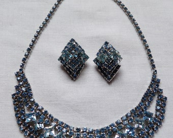 Vintage Juliana Blue Rinestone Necklace Earring Set