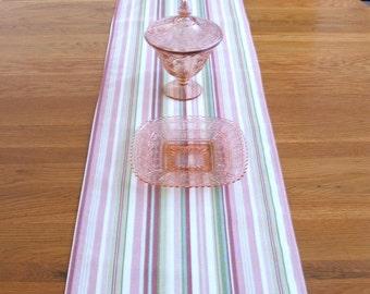 "TABLE RUNNER 72"" Long  Pink, Green, Tan Stripes  Home Decor"