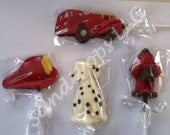 24 Fire man, truck, hydrant, hat, dalmatian boy birthday party chocolate lollipop