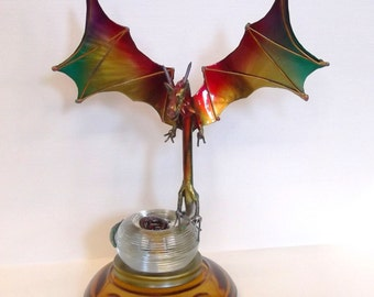 Dragon Sculpture, Recycled Art, Red Dragon, Steel Dragon, Dragon Wing decor,Wings, Spring Dragon, Spring Art,Fantasy Art, Gift ideas, unique