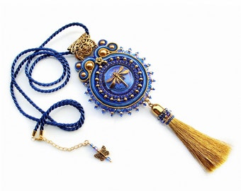 Handmade Soutache necklace pendant simple, elegant and unusual - Sapphire Dragonfly