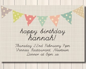 Sweet bunting happy birthday party printable invite