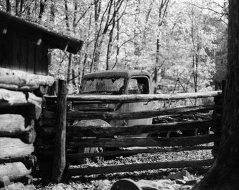 The Pickup II - Original Fine Art Photograph - Black and White, Vintage Truck, Rural Urban Decay, FREE SHIPPING