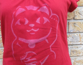 Women's Maneki Neko Lucky cat T shirt size small
