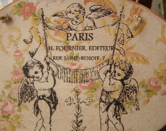 French wooden sign,vintage roses,cherubs,Paris address image sealed onto wood,string to hang