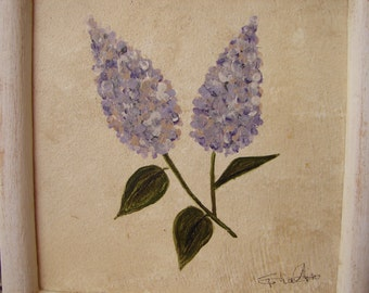 vintage,lilac flower,floral acrylic/watercolor painting on wood in distressed white,wooden frame,ready to hang.