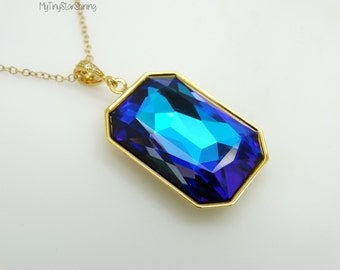Bermuda blue swarovski crystal Bermuda Blue Necklace BERMUDA BLUE Jewelry Swarovski Crystal Necklace Large Crystal Necklace RT