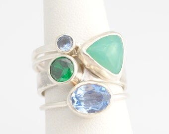 Modern Aquamarine and Simulated Emerald Gemstone Stacking Ring Set