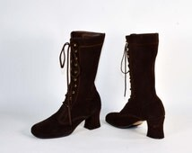 Vintage 70s Brown Suede Lace Up Granny Boots/ Mod Hippie Boho Penny Lane  Chunky Heel Boots/Dead Stock Unworn Made in Spain 6