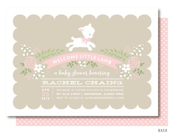 Lamb Baby Shower Invitations, Pink Little Lamb Invitation, Printed or Printable