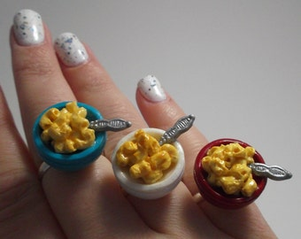 Macaroni and Cheese Ring – Mac and Cheese Adjustable Silver Ring