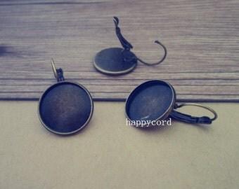 10pcs antique bronze copper ear hooks  base 18mm