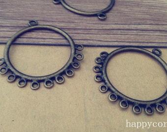 10pcs Antique bronze circular pendant charm connector 41mm