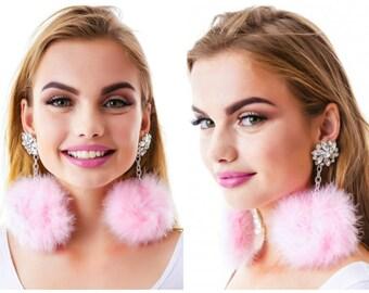 Earrings:  Faux Feathers Pastel Pink Pom Pom Earrings Silver Chain Crystal Earrings