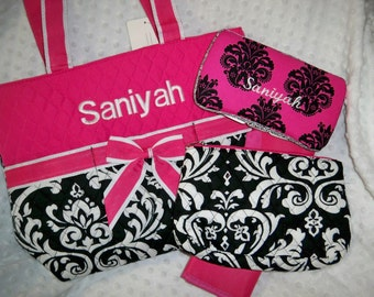 PERSONALIZED 4 Piece Diaper Bag Set with Name - Baby Girl Pink Black White Damask Personalized Diaper Bag, Pouch, Wipe Case and Changing Pad