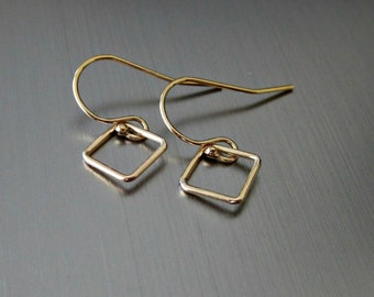 Small Gold Filled Open Diamond/Square Earrings - Simple - Casual - Contemporary