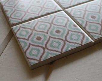 Mint Brown Moroccan Coasters Four Piece Ceramic Tile Set