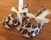 Baby Leopard Ballet Slippers Infant Shoes Satin Tie Cheetah