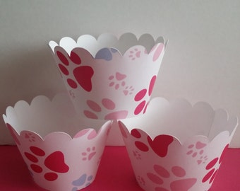 Paw Print Wrappers in Pink and Blue