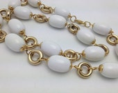 Chunky White Vintage Bead Necklace Long Necklace