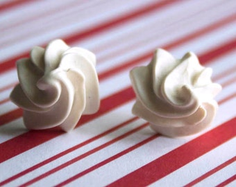 polymer clay whipped cream earrings, earring studs, miniature food jewelry, polymer clay food charm, whip cream earrings, frosting earrings