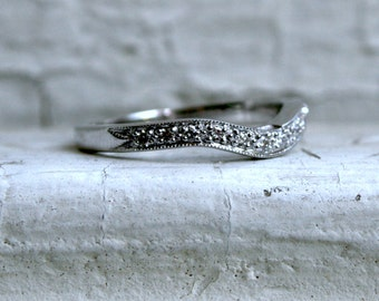 RESERVED - Curved Pave Vintage 18K White Gold Diamond Wedding Band.