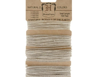 Natural Hemp Cord in 4 Sizes for Packaging, Etc. 104 Feet - Natural and Eco-Friendly