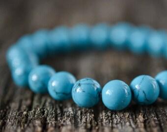 Blue Howlite Bracelet • Bead Bracelet Women / Mens Gemstone Bracelet • Stacking Bracelet • Yoga Bracelet • Stretch Bracelet • Gifts