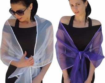 Sheer Organza Evening Wrap Shawl Stole Scarf for Prom Wedding Bride- Choice of 8 colors