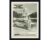 "1979 SUBARU & White House Car Ad ""Susan Ford"" Vintage Advertising Wall Decor Print"