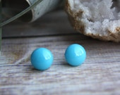 Turquoise Earrings, Handmade Turquoise Studs. Stud Earrings made of fused glass. Hypo-allergenic titanium posts, in stock and ready to ship!