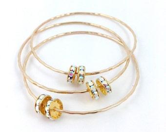 Swarovski Crystal AB 14kt Gold Filled Bangle