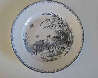 French transferware plates by Sarreguemines in Printemps pattern with birds and dragonflies