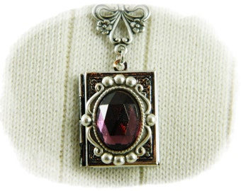 Locket, Necklace, Book Locket, Locket Necklace, Amethyst Locket, Amethyst Necklace, Antique Silver Locket