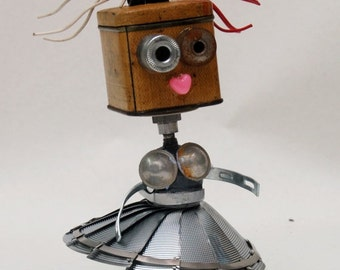 """One of a Kind Original..Junk - Droid #2 """"MOM"""" found and salvaged object Robot-Like Sculpture Entirely reclaimed materials."""