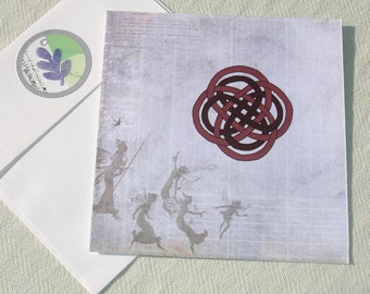 Magical Celtic Knot and Fairies Greeting Card - Wiccan & Pagan Stationary - Handmade by Harmonee's Creations