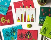Set of African Inspired Hand Illustrated Holiday Greeting Cards